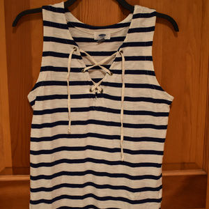 Navy Blue/White Striped Lace Up Tank Top